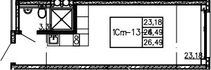 Студия, 26.49 м²