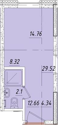 Студия, 14.95 м²
