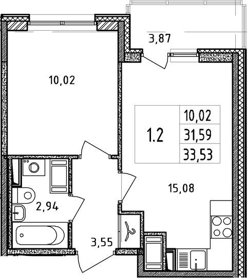 2-к.кв (евро), 35.46 м²