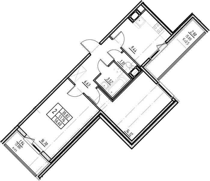 2-к.кв, 51.76 м²