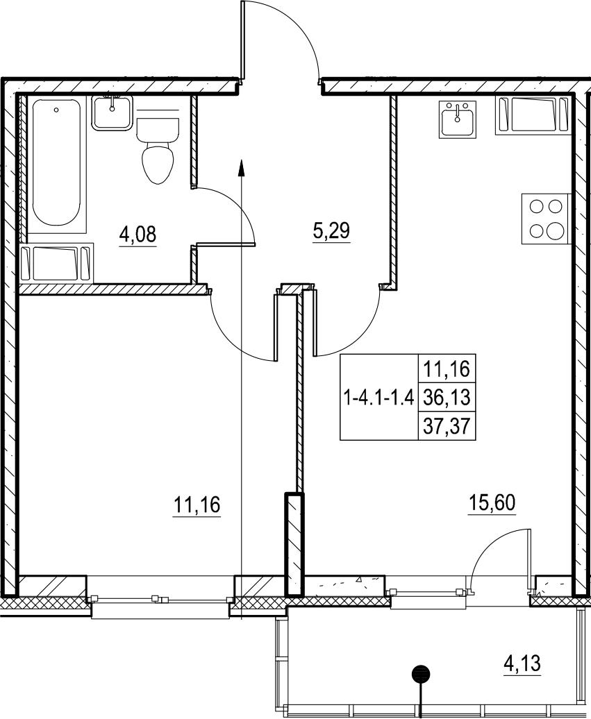 2-к.кв (евро), 40.26 м²