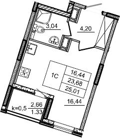 Студия, 25.01 м², 3 этаж – Планировка