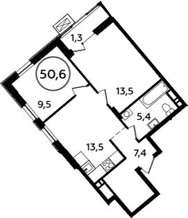 2-комнатная, 50.6 м²– 2
