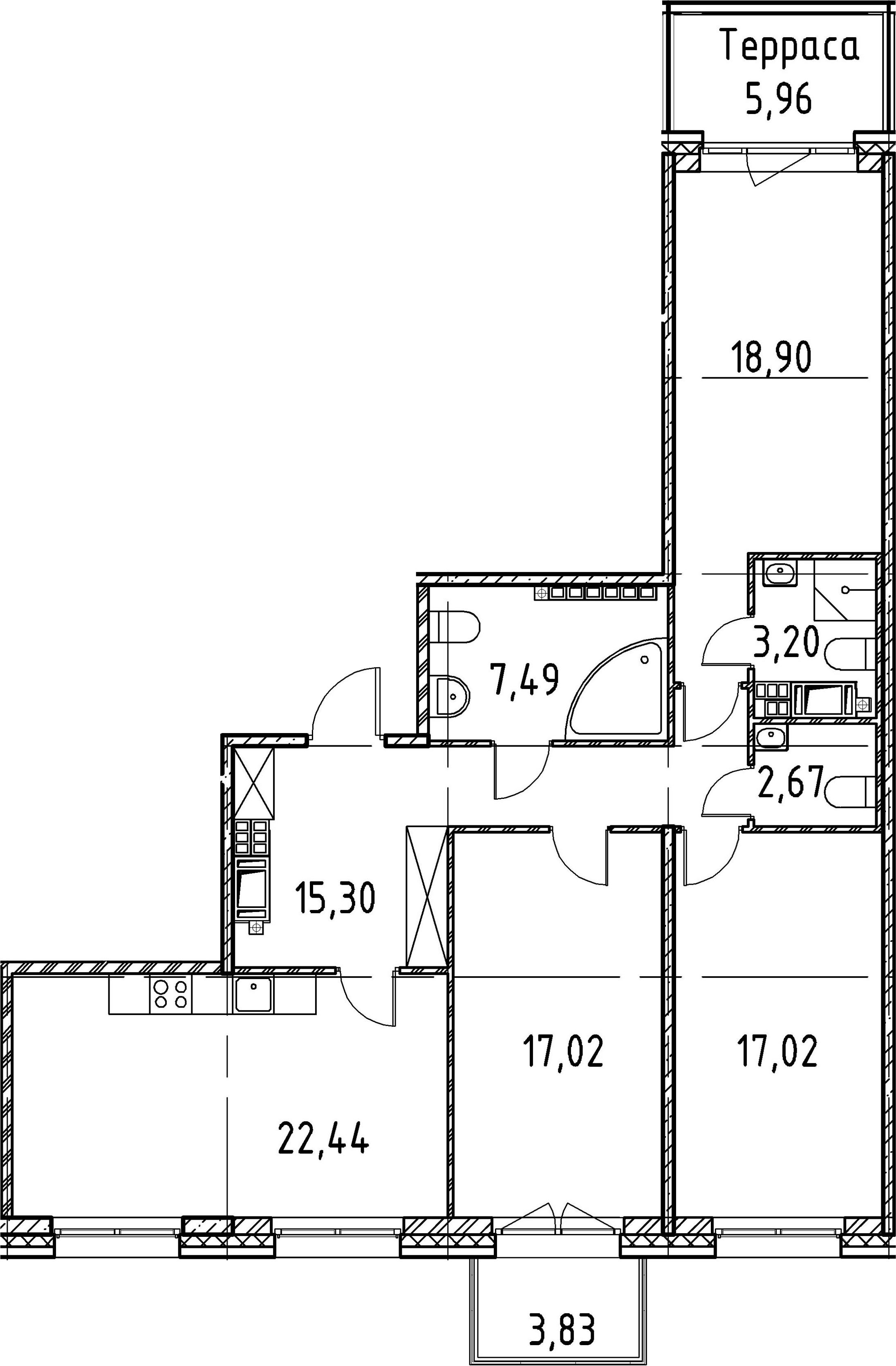 3-комнатная, 104.04 м²– 2