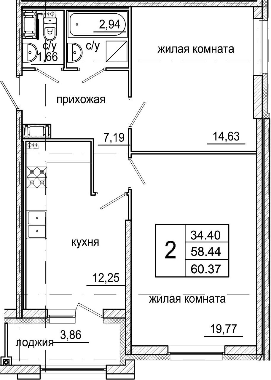 2-к.кв, 62.3 м²