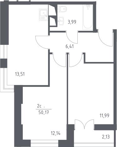 3Е-к.кв, 50.17 м², 15 этаж