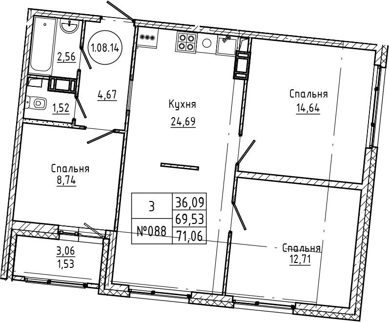 4Е-к.кв, 71.06 м², 8 этаж