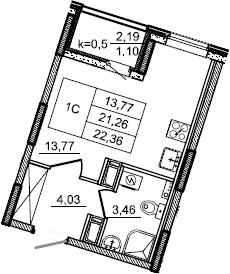 Студия, 22.36 м², от 3 этажа