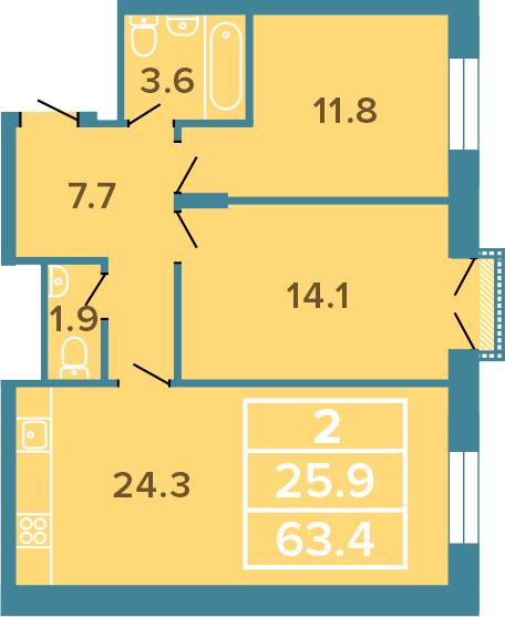 3-к.кв (евро), 63.4 м²