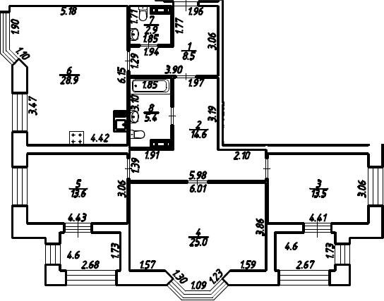 3-к.кв, 117 м²