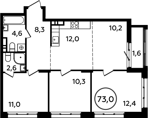 4Е-комнатная, 73 м²– 2