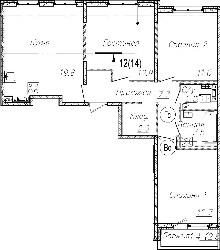 4Е-к.кв, 72.5 м²