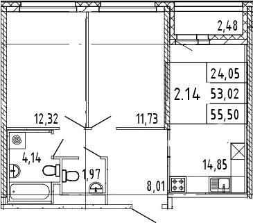 2-к.кв, 54.26 м²