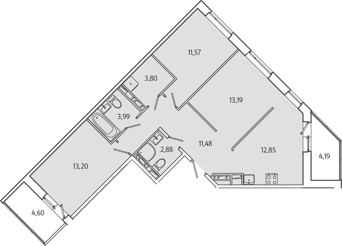 3-к.кв, 77.36 м², 2 этаж