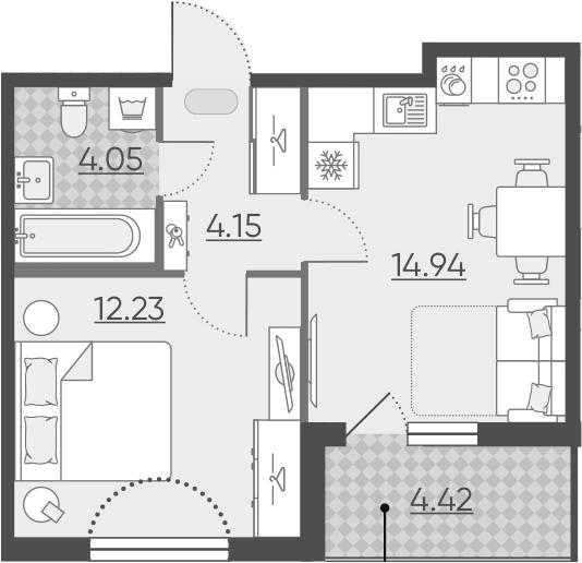 2-к.кв (евро), 39.79 м²