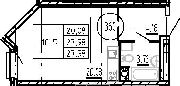 Студия, 27.98 м²– 2
