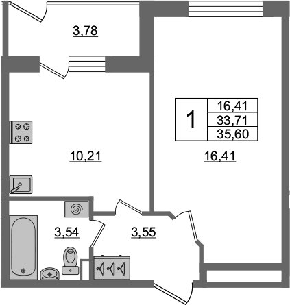 1-к.кв, 33.71 м², 1 этаж