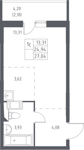 Студия, 27.04 м²