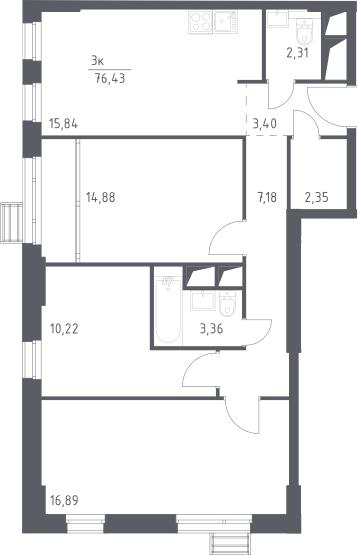 4-к.кв (евро), 76.43 м²
