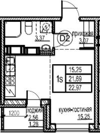 Студия, 22.97 м²– 2