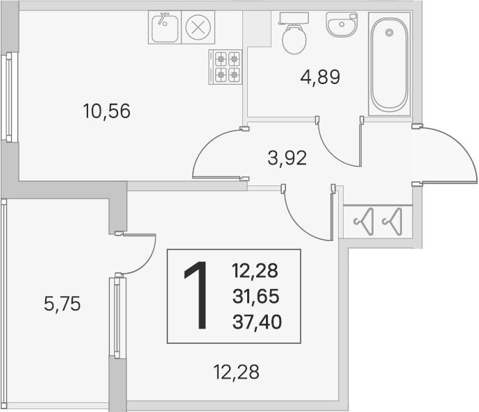 1-к.кв, 31.65 м², 1 этаж
