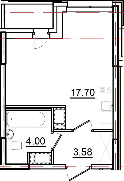 Студия, 26.32 м², 10 этаж