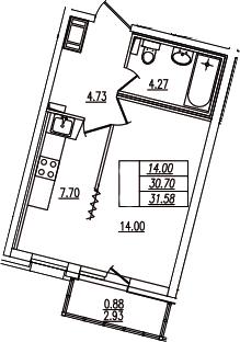 1-комнатная, 31.58 м²– 2