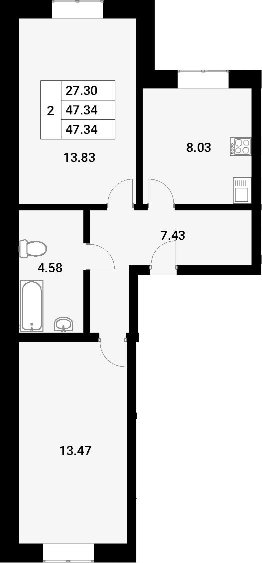 2-к.кв, 47.34 м²