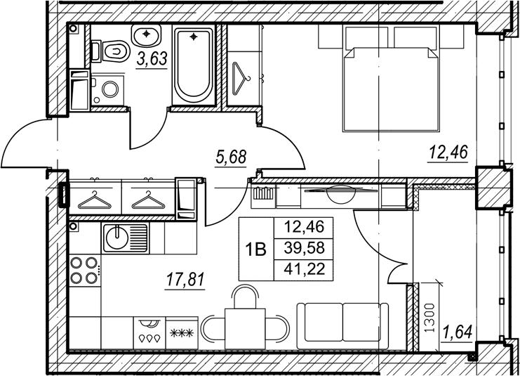 1-комнатная, 41.22 м²– 2