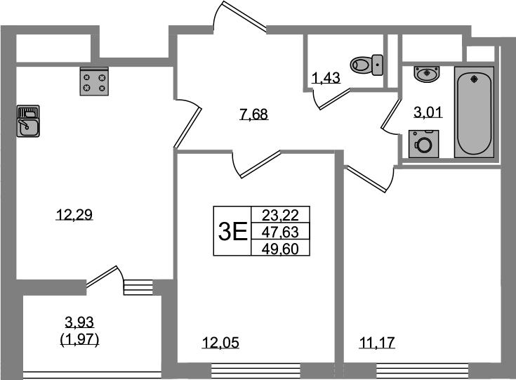 3-к.кв (евро), 51.57 м²