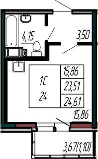 Студия, 23.51 м²– 2
