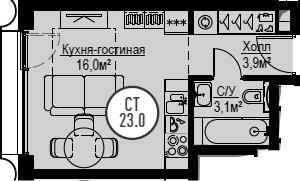 Студия, 23 м², 28 этаж