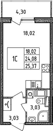 Студия, 25.37 м²