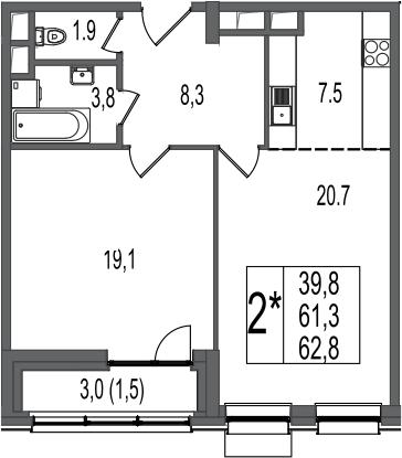 2Е-к.кв, 62.8 м²