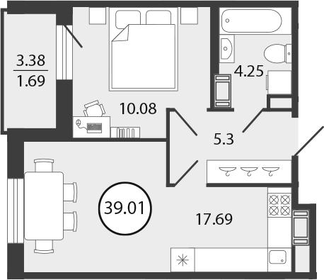 2Е-к.кв, 39.01 м², 2 этаж