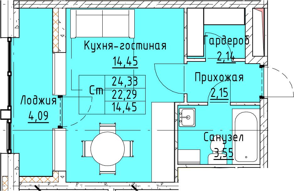 Студия, 24.33 м²– 2