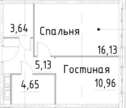 1-комнатная квартира, 40.5 м², 16 этаж – Планировка