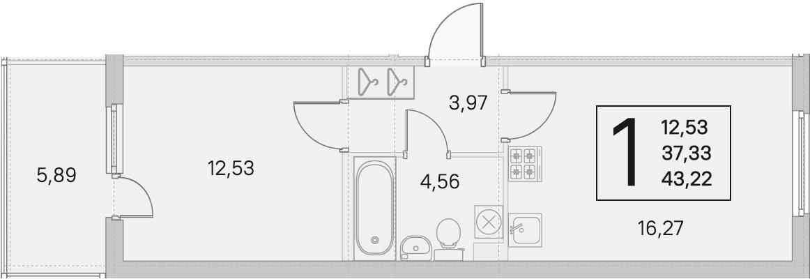 2Е-комнатная, 37.33 м²– 2