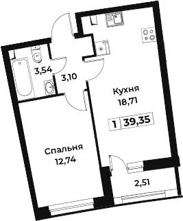 2Е-к.кв, 39.35 м², 2 этаж