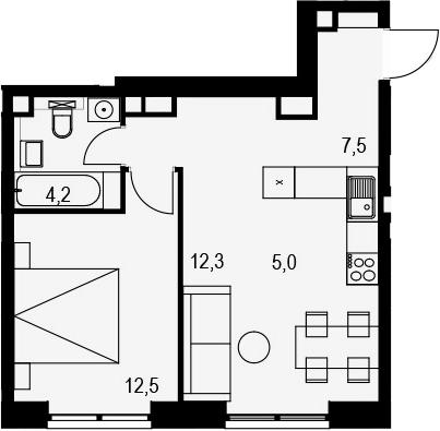 2Е-к.кв, 41.5 м², 16 этаж