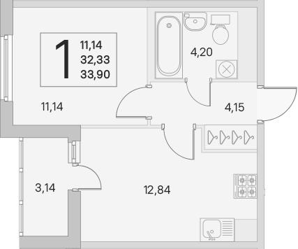 2Е-к.кв, 32.33 м², 2 этаж
