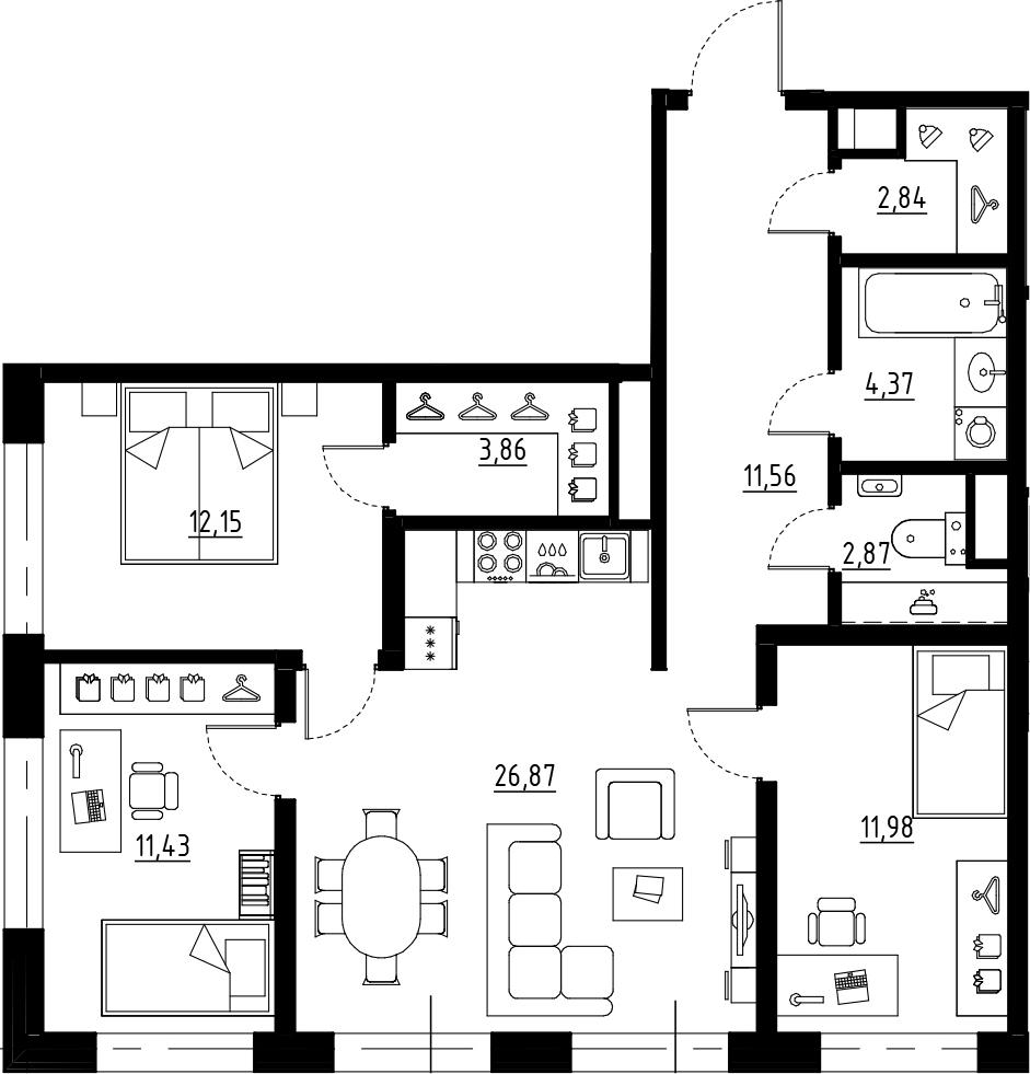 4Е-к.кв, 87.93 м², от 7 этажа