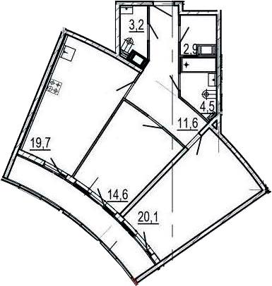 3Е-к.кв, 81.8 м², от 4 этажа