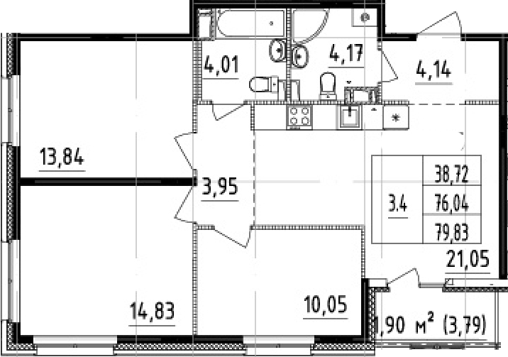 4-к.кв (евро), 79.83 м²