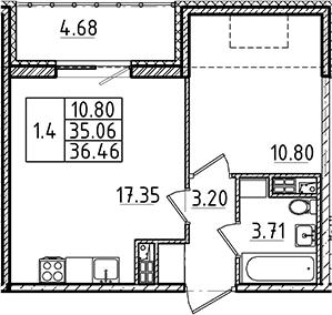 2Е-комнатная, 36.46 м²– 2
