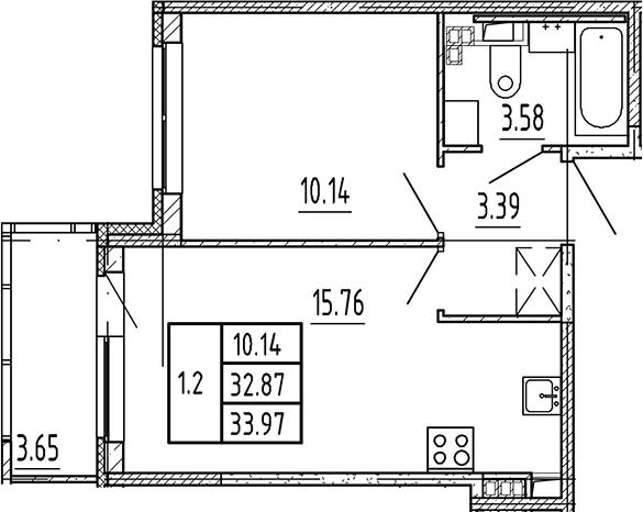 2Е-комнатная, 32.87 м²– 2