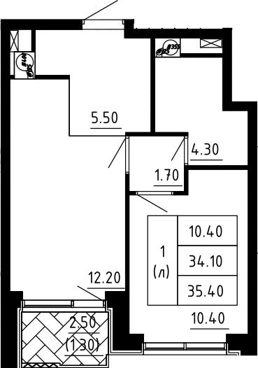 1-комнатная квартира, 35.4 м², 6 этаж – Планировка