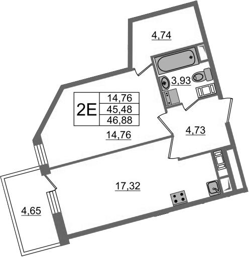 2-к.кв (евро), 50.13 м²