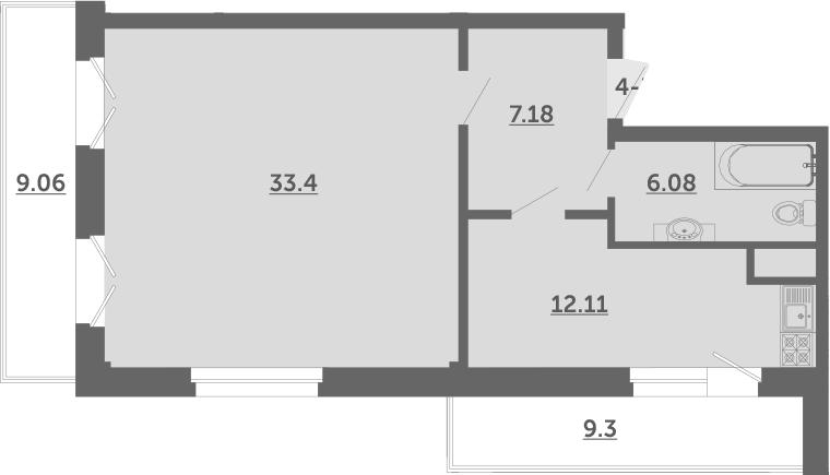 1-к.кв, 64.3 м², 2 этаж