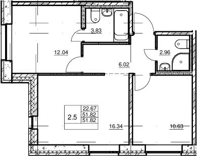 3Е-комнатная, 51.82 м²– 2